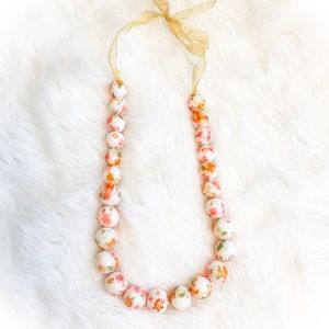 Sassy enamel floral beaded necklace